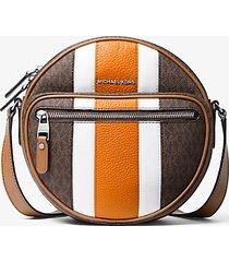 mk borsa a tracolla hudson rotonda a righe con logo - marrone/arancio (marrone) - michael kors