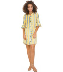 vestido camisero 3/4 amarillo 2340 unipunto