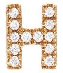 diamond 18k yellow gold letter charm - h