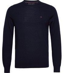 fine gauge merino wool crew neck stickad tröja m. rund krage blå tommy hilfiger tailored
