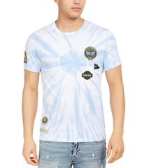 guess men's washed out graphic patch t-shirt