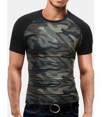 t-shirt casual con scollo a manica corta stampata a manica corta in cotone estivo da uomo