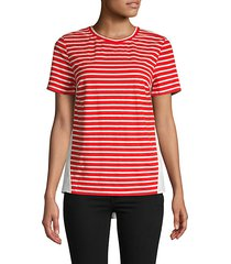 striped front cotton-blend tee