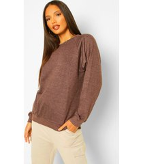 lange oversized sweater met ballonmouwen, chocolate