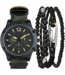 inc men's olive camouflage nato strap watch 47mm & bracelets set, created for macy's