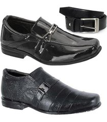 kit 2 pares de sapato social infantil e 1 cinto leoppé - masculino