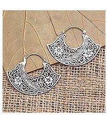 sterling silver hoop earrings, 'cape of flowers' (indonesia)