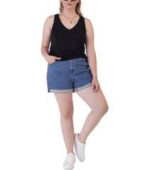 black tape plus size denim mom shorts