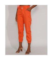calça de sarja feminina jogger mom cintura super alta laranja