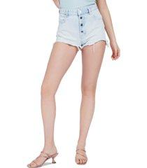 guess alexia distressed cotton denim shorts