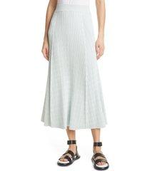 women's proenza schouler geometric rib silk blend skirt, size small - blue