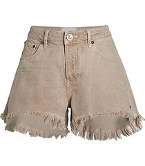 trucker frayed high-low denim shorts