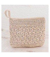 crocheted cosmetic bag, 'margarita texture in bone' (guatemala)