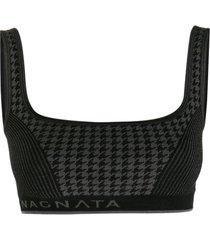 nagnata sutiã de tricô com padronagem pied-de-poule - preto