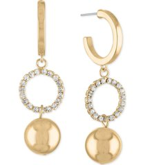 rachel rachel roy gold-tone pave ring & ball charm hoop earrings
