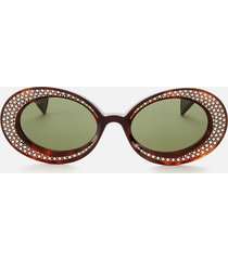 gucci women's oval diamante acetate sunglasses - havana/green