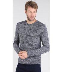suéter masculino em tricô slim fit gola redonda azul marinho