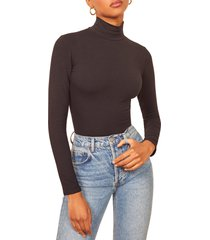 women's reformation navia turtleneck bodysuit, size large - black