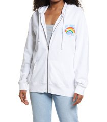 bp. be proud by bp. graphic zip hoodie, size small - white