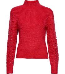 high collar pointelle knit turtleneck polotröja röd ivyrevel