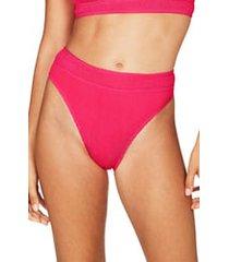bound by bond-eye the savannah high-waist ribbed bikini bottoms in neon pink at nordstrom
