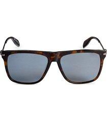 alexander mcqueen women's 57mm square sunglasses - black