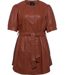tunic immitation leather plus short sleeves tunika brun zizzi