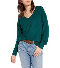 plus size women's treasure & bond cozy v-neck sweater, size 3 x - green