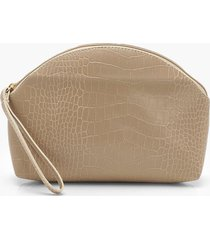 croc half moon zip top pouch & handle bag, tan