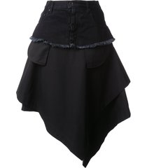 unravel project asymmetric loose skirt - black