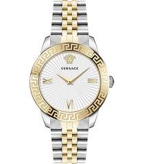 greca signature lady two-tone stainless steel logo bracelet watch