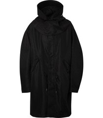 burberry detachable hood monogram technical nylon parka - black
