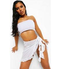 chiffon strand sarong met ruches, white