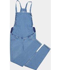 macacão jeans cambos cropped gestante feminino - feminino
