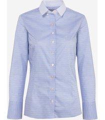 camisa dudalina manga longa tricoline fio tinto gola feminina (listrado, 46)