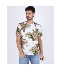 camiseta masculina estampada de folhagens manga curta gola careca off white