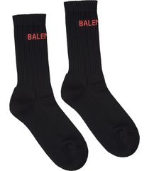 balenciaga black woman socks with red logo