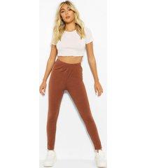 basic high waist ankle grazer legging, cocoa