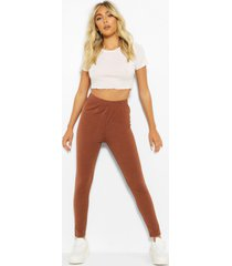 basic high waist ankle grazer legging, cocoa