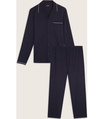 pijama camisa resort con detalles y pantalón con contrastes-l