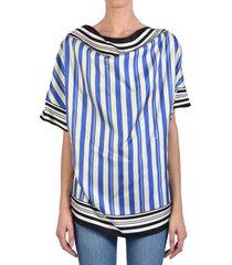 loewe stripe print silk scarf top