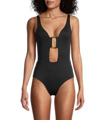 chaser women's open-front one-piece swimsuit - true black - size m