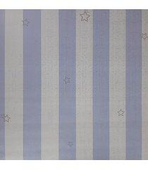 kit 3 rolos de papel de parede fwb azul e branco com listras prata - azul/branco - dafiti