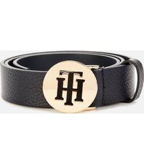 tommy hilfiger women's round logo belt - sky captain - 75cm/30in