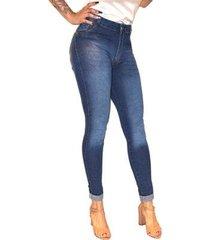 calça jeans sob cintura alta skinny levanta bumbum delavê feminina