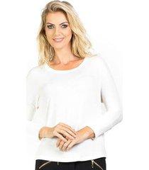blusa ampla manga 3/4 punho ajustado lado basic feminina