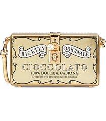 dolce & gabbana women's metallic leather convertible clutch - gold