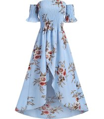 flower off shoulder smocked tulip dress