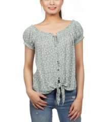 hippie rose juniors' floral print peasant top