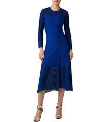 women's akris long sleeve transparent stripe midi dress, size 14 - blue